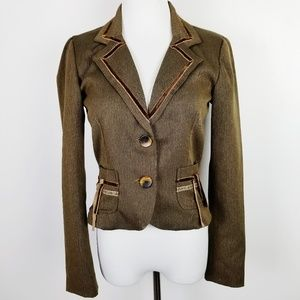 RAMPAGE Brown Fitted Military Style Lined Blazer M